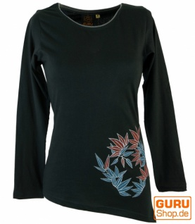 Langarmshirt Boho-chic, besticktes Zipfelshirt - schwarz