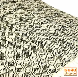 Hangewebter Blockdruck Teppich aus natur Baumwolle mit traditionellem Design - weiß/schwarz Muster 14