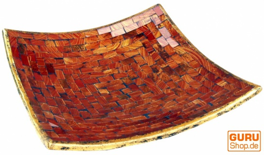 Eckige Mosaikschale, Untersetzer, Dekoschale, handgearbeitete Keramik & Glas Obst Schale - Design 4