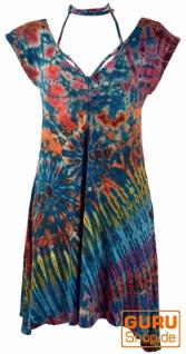 Batik Minikleid, farbenfrohes Boho Kleid - petrol