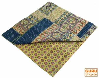 Quilt, Steppdecke, Tagesdecke Bettüberwurf, Besticktes Tuch, Indischer Bettüberwurf, Tagesdecke - Muster 18