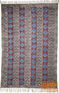 Handgewebter Blockdruck Teppich aus natur Baumwolle mit traditionellem Design - Muster 1