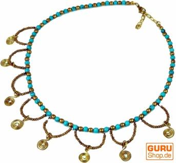 Modeschmuck Kette Spirale - türkis/gold