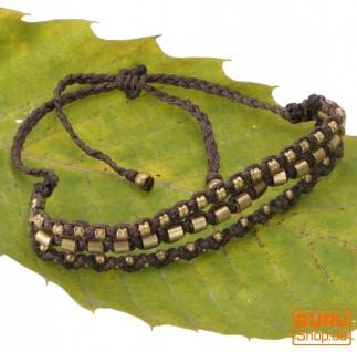 Perlenarmband, Makrameee Armband, Herren Armband - dunkelbraun