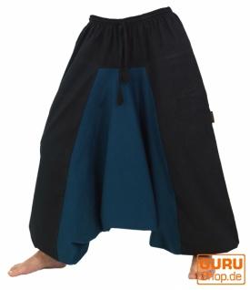 Haremshose Pluderhose Pumphose Aladinhose aus Baumwolle - schwarz/petrol