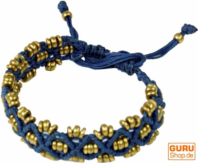 Perlenarmband, Makramee Armband - blau