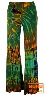 Batik Leggings mit Schlag, Boho Schlaghose - olivegrün