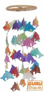 Rundes Muschel Windspiel - Delphin bunt