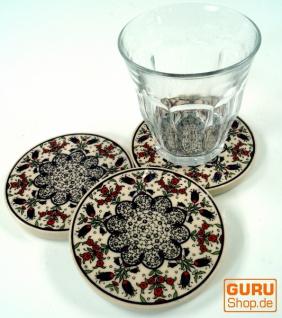 Orientalischer Keramikuntersetzer, runder Untersetzer für Gläser und Tassen mit Mandala Motiv Set - Muster 9