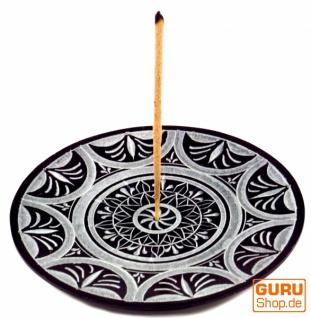 Indischer Räucherstäbchenhalter aus Speckstein, Kerzenteller - Sonnen Mandala