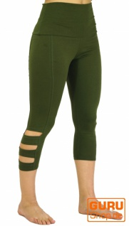3/4 Psytrance Goa Damen Leggings, Festival Party Hose - olive