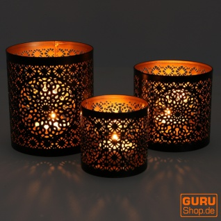 Filigranes orientalisches Metall Windlicht, Teelicht Leuchte mit fein gefrästem Design - Motiv 2 - Vorschau 1