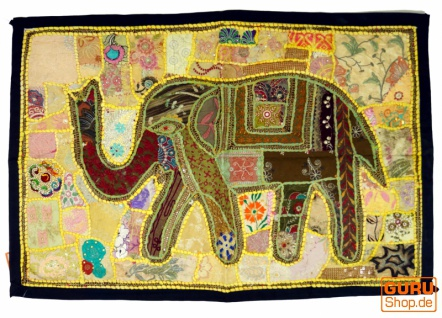 Indischer Wandteppich Patchwork Wandbehang mit Elefant, Einzelstück 90*65 cm - Muster 2