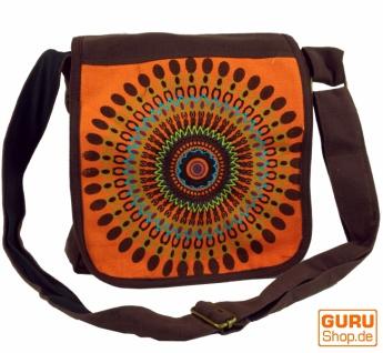 Schultertasche, Hippie Tasche, Goa Tasche - braun/orange