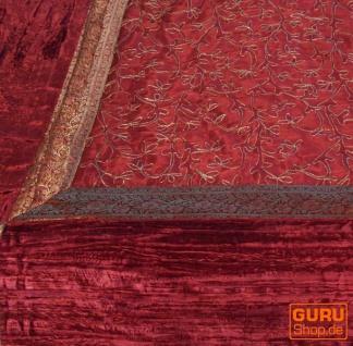 Brokat- Samtdecke, Tagesdecke, Bettüberwurf - rot - Vorschau 2