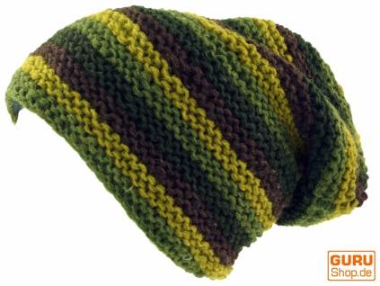 Beanie Mütze, olive gestreifte Strickmütze, Nepalmütze - olive Mütze, 392f0f