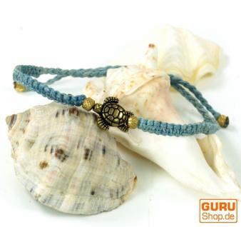 Ethno Schildkröten Perlenarmband, Makramee Armband - aqua