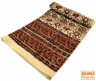 Blockdruck Tagesdecke, Bett & Sofaüberwurf, handgearbeiteter Wandbehang, Wandtuch gelb, braun, orange - Design 1