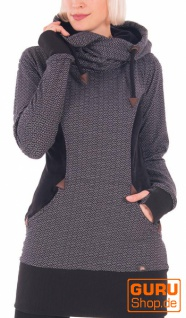 Langärmlige Tunika mit Kapuze aus Bio-Baumwolle / Chapati Design - black brick