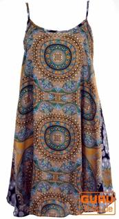 Boho Dashiki Minikleid, Trägerkleid, Strandkleid - goldgelb