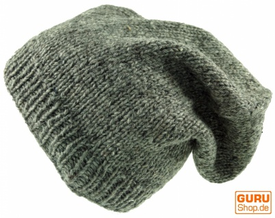 Beanie Mütze, Nepal Strickmütze - grau