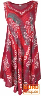 Boho Tunikakleid XXL, Batik Tunika Hippie chic - weinrot