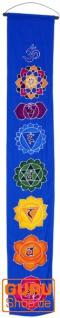 Boho Wandbehang, Batik Wandschmuck - Mandala blau