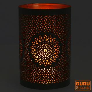 Rundes Metall Windlicht, Teelichtlampe - Motiv 2 - Vorschau 2