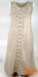 Besticktes Boho Sommerkleid, indisches Hippie Kleid mit Knopfleiste, beige - Design 12