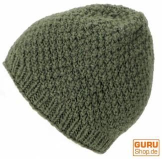 Handgestrickte Wollmütze, Strickmütze aus Schurwollle - - olivgrün