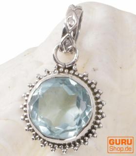 Zierlicher runder Boho Silberanhänger, Indischer Kettenanhänger aus Silber - Aquamarin