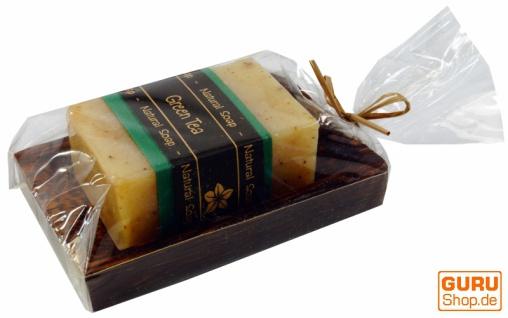 Exotisches Seifenset, Seife & Kokosholz Seifenschale - Green Tea