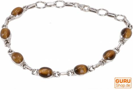 Indisches Boho Silber Armband - Tigerauge