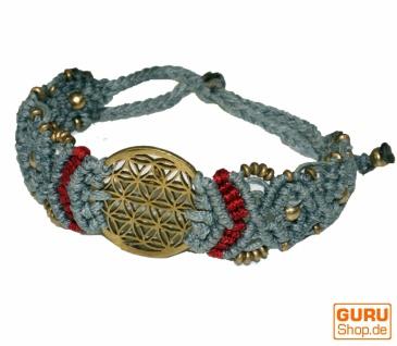 Goa Armband, Makramee, Festival Armband, Einzelstück - Blume des Lebens