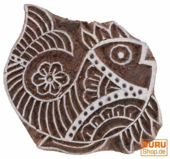 Indischer Textilstempel, Stoffdruckstempel, Blaudruck Stempel, Holz Model - 6*8 cm Fisch 1