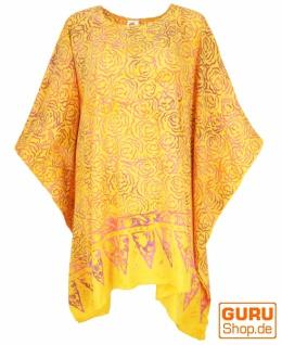 Poncho, Tunika, Strandkleid , Batik Kaftanf, Damen Übergröße - gelb