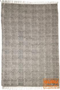 Handgewebter Blockdruck Teppich aus natur Baumwolle mit traditionellem Design - Muster 8