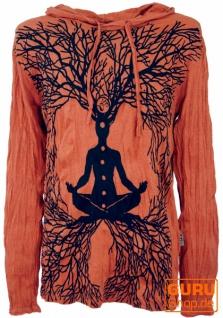 Sure Langarmshirt, Kapuzenshirt Meditation Chakra Buddha - rostorange