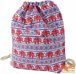Turnbeutel, Ethno Rucksack, Sportbeutel mit Elefantendruck - rot/blau