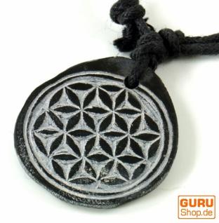 Tibetkette aus Schiefer, Nepalschmuck, Amulett - Blume des Lebens