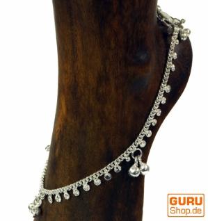 Indisches Fußkettchen, orientalische Weißmetall Fußkette - Model 5