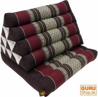 Thaikissen, Dreieckskissen, Kapok, Tagesbett mit 1 Auflage - dunkelbraun/rot