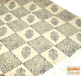 Hangewebter Blockdruck Teppich aus natur Baumwolle mit traditionellem Design - weiß/schwarz Muster 9