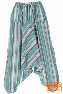 Luftige Goa Pluderhose, gestreifte Aladinhose mit Tasche - aqua