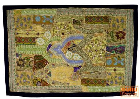 Indischer Wandteppich Patchwork Wandbehang, Einzelstück 90*65 cm