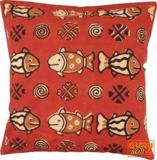 Kissenbezug Blockdruck, Dekokissen Bezug, Kissenhülle Ethno, Traditionelle Herstellung - Muster 25