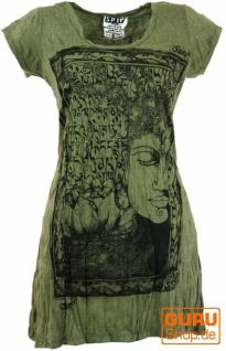 Sure Long Shirt, Minikleid Mantra Buddha - olive