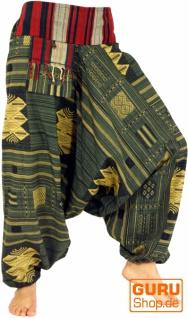Haremshose mit breitem gewebtem Bund und Fransentasche, Ikat Thai Pluderhose - olive