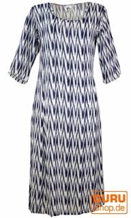 Indisches Boho Tunikakleid, langes Sommerkleid - weiß/blau