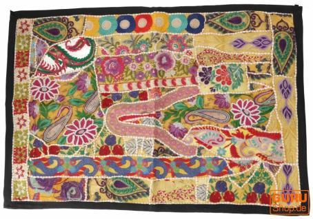 Indischer Wandteppich Patchwork Wandbehang, Einzelstück 90*65 cm - Muster 24